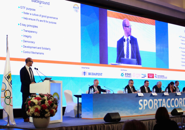 BANGKOK, THAILAND - APRIL 17:  I Trust Sport Founder Rowland Jack addresses during the ASOIF (Association of Summer Olympic International Federations) General Asembly on day three of the SportAccord at Centara Grand & Bangkok Convention Centre on April 17, 2018 in Bangkok, Thailand.  (Photo by Lauren DeCicca/Getty Images)
